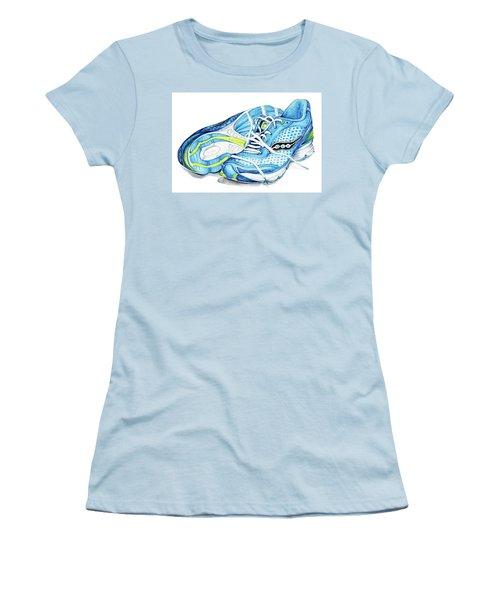 Blue Running Shoes Women's T-Shirt (Junior Cut) by Heidi Kriel