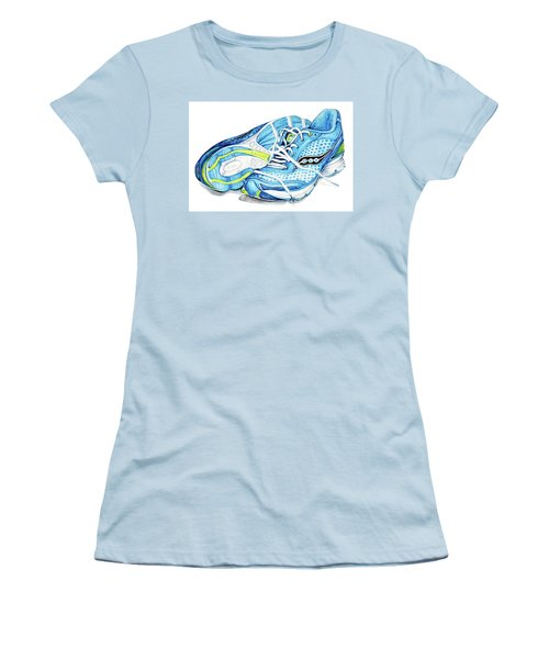 Blue Running Shoes Women's T-Shirt (Athletic Fit)