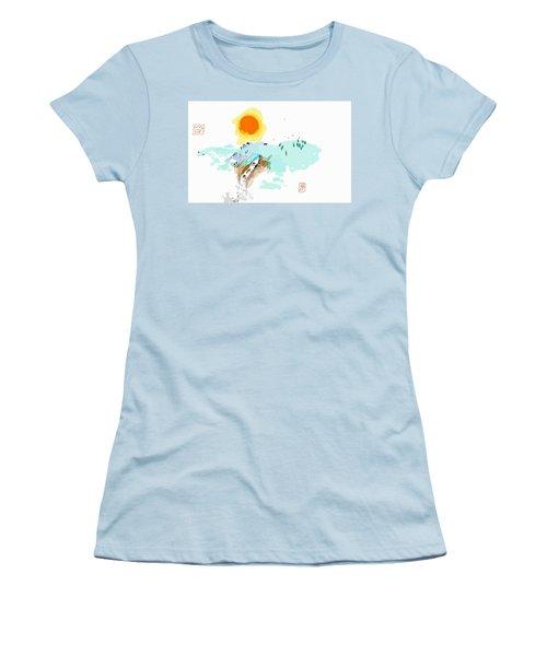 Blue Waterfalll Women's T-Shirt (Junior Cut) by Debbi Saccomanno Chan
