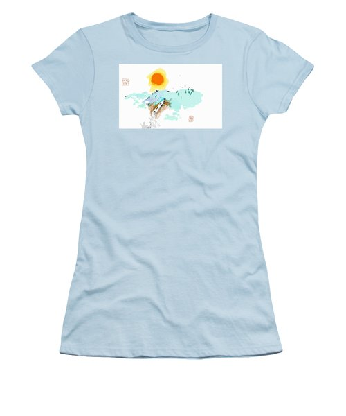 Blue Waterfalll Women's T-Shirt (Athletic Fit)