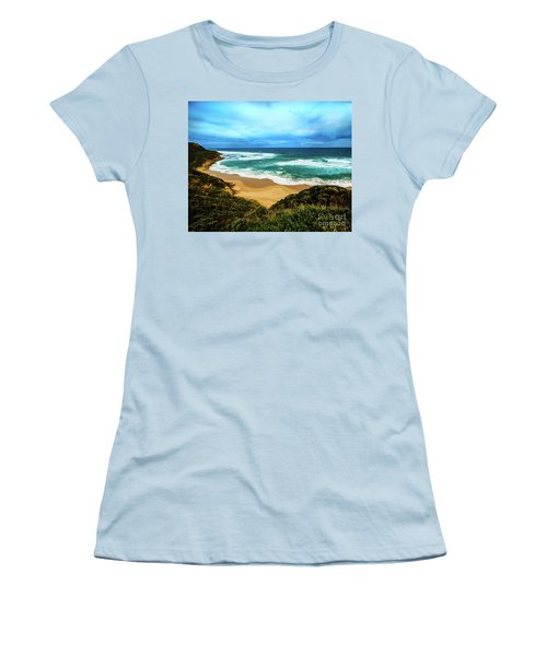 Women's T-Shirt (Junior Cut) featuring the photograph Blue Wave Beach by Perry Webster