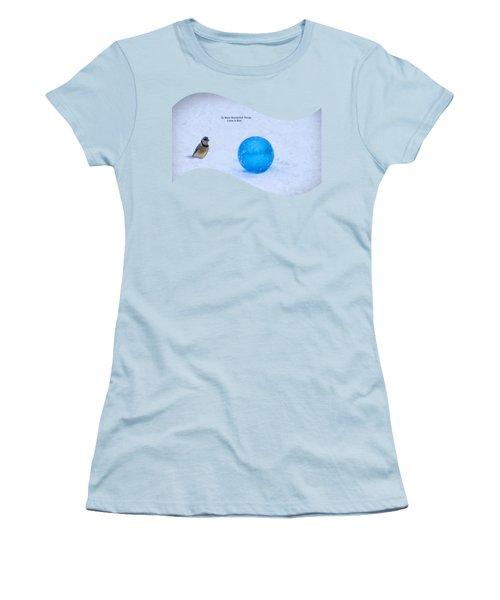 Blue Winter Women's T-Shirt (Junior Cut) by Linda Troski