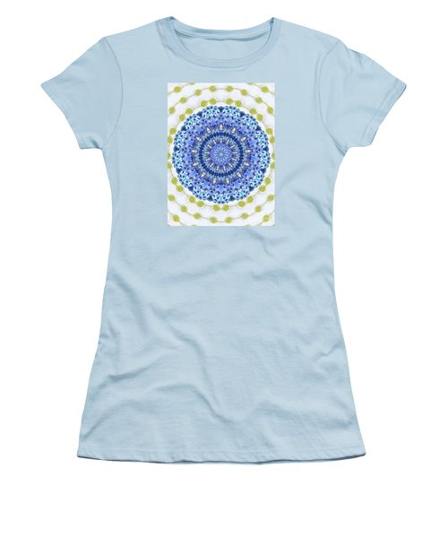 Women's T-Shirt (Junior Cut) featuring the photograph Blue With Green Dots by Shirley Moravec
