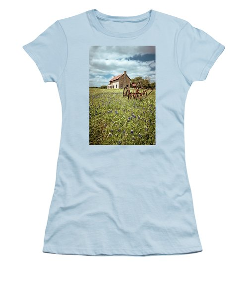 Women's T-Shirt (Junior Cut) featuring the photograph Bluebonnet Fields by Linda Unger