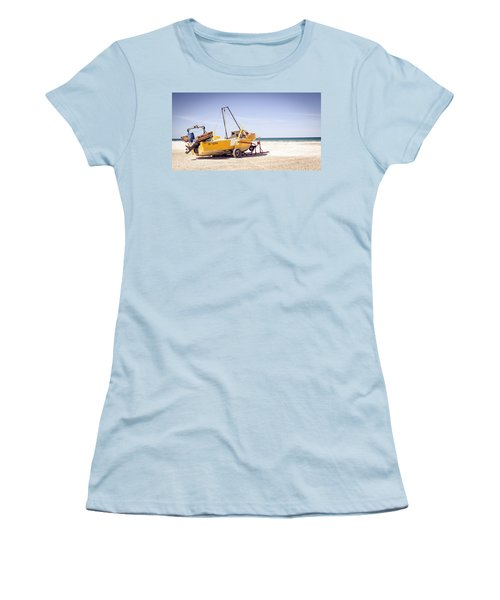 Boat And The Beach Women's T-Shirt (Junior Cut) by Silvia Bruno
