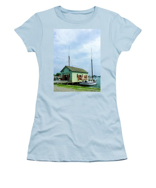 Women's T-Shirt (Junior Cut) featuring the photograph Boat By Oyster Shack by Susan Savad