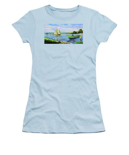 Women's T-Shirt (Junior Cut) featuring the painting Boats At Lake Victoria by Anthony Mwangi