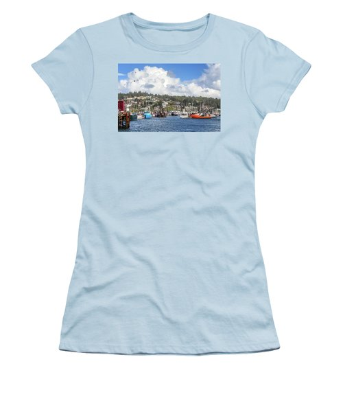 Boats In Yaquina Bay Women's T-Shirt (Junior Cut) by James Eddy
