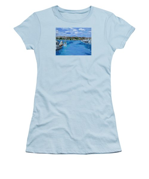 Bodega Bay From Spud Point Marina Women's T-Shirt (Junior Cut) by Mike Caitham