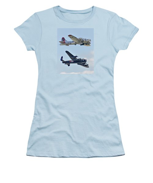 Boeing B-17g Flying Fortress And Avro Lancaster Women's T-Shirt (Junior Cut) by Alan Toepfer