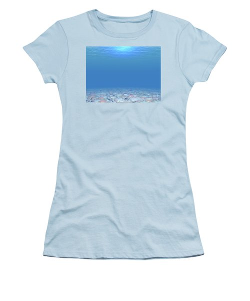 Women's T-Shirt (Junior Cut) featuring the digital art Bottom Of The Sea by Phil Perkins