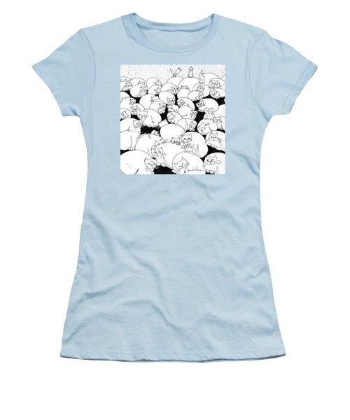 Boulder Cats Women's T-Shirt (Junior Cut) by Lou Belcher