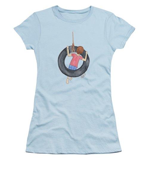 Boy On Swing 1 Women's T-Shirt (Athletic Fit)