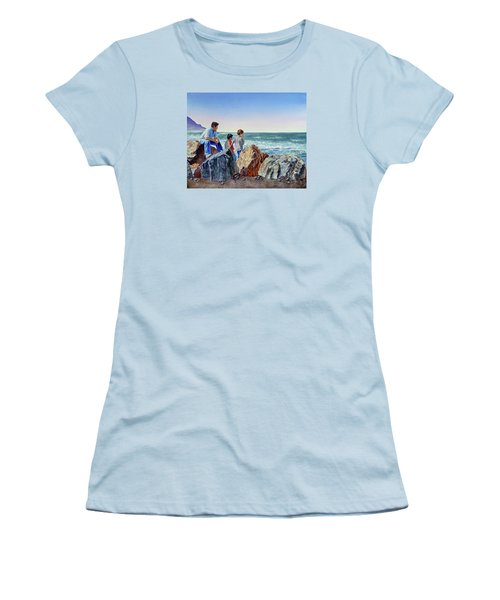 Women's T-Shirt (Athletic Fit) featuring the painting Boys And The Ocean by Irina Sztukowski