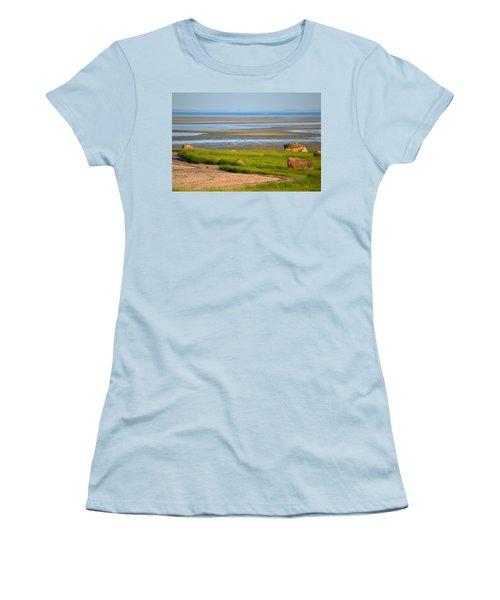 Breakwater Beach At Low Tide Women's T-Shirt (Athletic Fit)