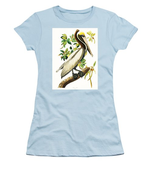 Brown Pelican Women's T-Shirt (Junior Cut) by Pg Reproductions