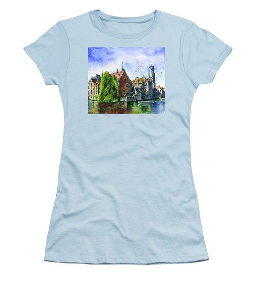 Bruges Belgium Women's T-Shirt (Junior Cut) by John D Benson