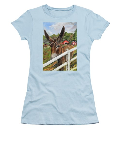 Women's T-Shirt (Athletic Fit) featuring the painting Bubba - Steals The Show -donkey by Jan Dappen
