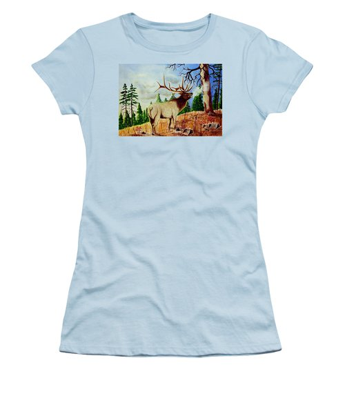 Bugling Elk Women's T-Shirt (Junior Cut) by Jimmy Smith