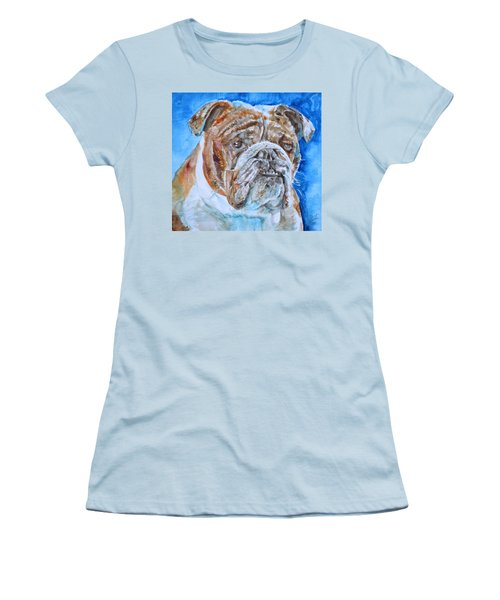 Women's T-Shirt (Junior Cut) featuring the painting Bulldog - Watercolor Portrait.8 by Fabrizio Cassetta
