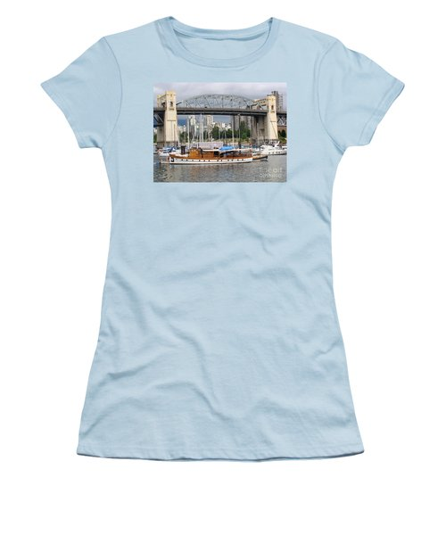 Women's T-Shirt (Junior Cut) featuring the painting Burrard Street Bridge, Vancouver by Rod Jellison