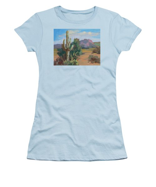 Women's T-Shirt (Junior Cut) featuring the painting Cactus By The Red Mountains by Diane McClary
