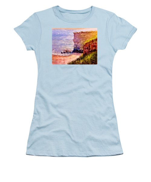 Women's T-Shirt (Junior Cut) featuring the painting California Cliffs.. by Cristina Mihailescu