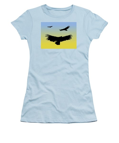 California Condors In Flight Silhouette At Sunrise Women's T-Shirt (Athletic Fit)
