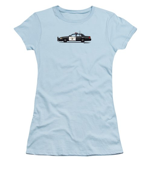 California Highway Patrol Ford Crown Victoria Police Interceptor Women's T-Shirt (Junior Cut) by Monkey Crisis On Mars