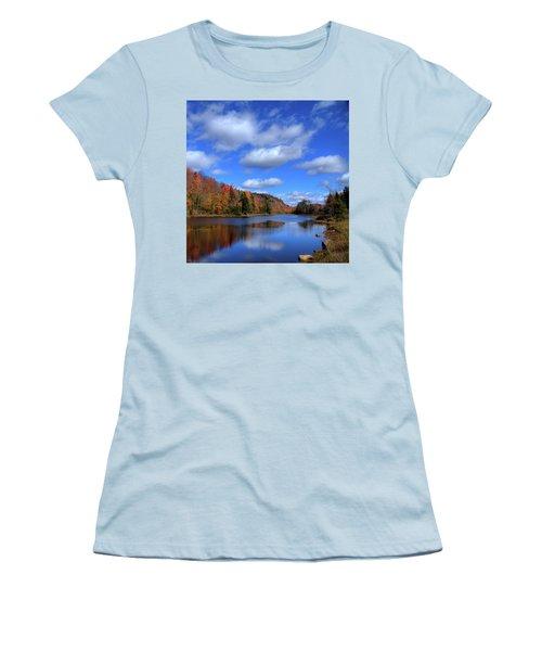 Calmness On Bald Mountain Pond Women's T-Shirt (Junior Cut) by David Patterson