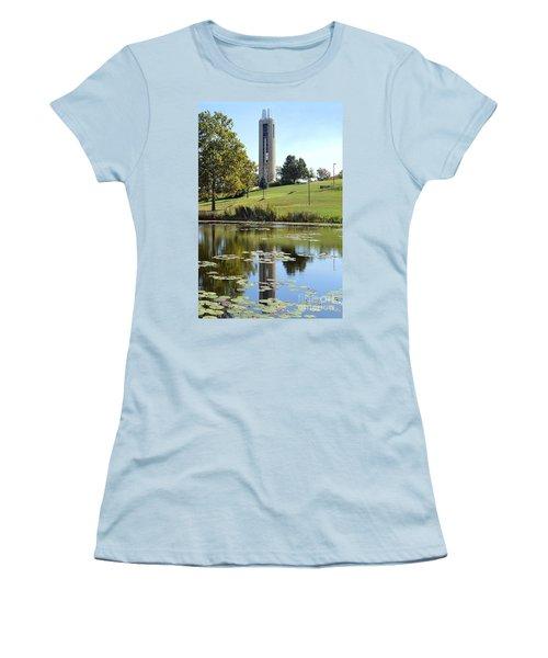 Campanile Reflection In Kansas Women's T-Shirt (Junior Cut) by Catherine Sherman