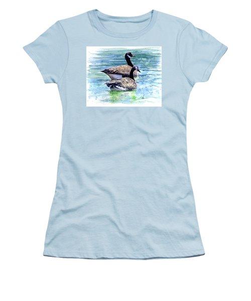 Canada Geese Women's T-Shirt (Junior Cut) by John D Benson