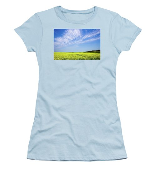 Canola Blue Women's T-Shirt (Junior Cut) by Keith Armstrong