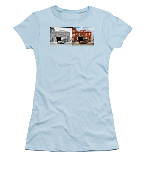 Women's T-Shirt (Junior Cut) featuring the photograph Car - Garage - Misfit Garage 1922 - Side By Side by Mike Savad