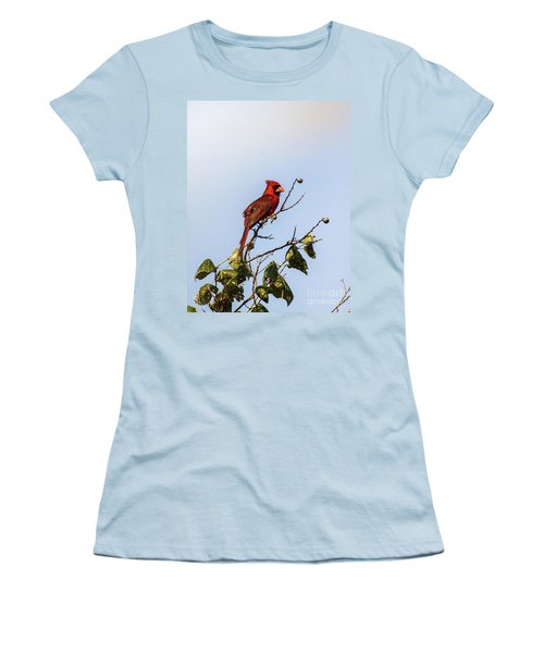 Women's T-Shirt (Junior Cut) featuring the photograph Cardinal On Treetop by Robert Frederick