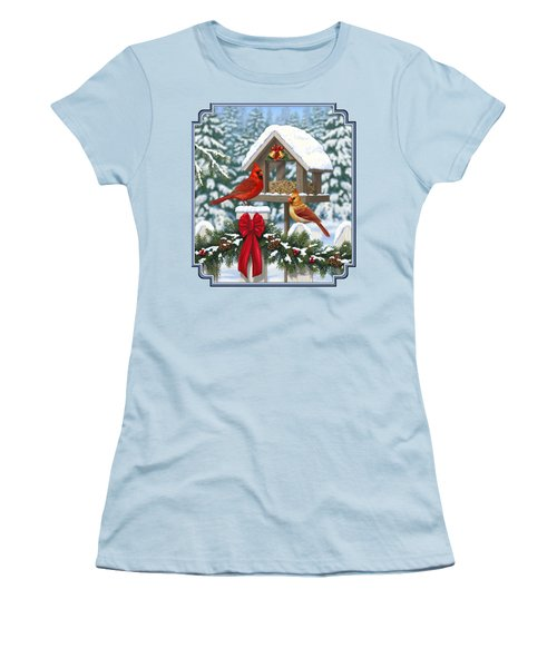 Cardinals Christmas Feast Women's T-Shirt (Junior Cut) by Crista Forest
