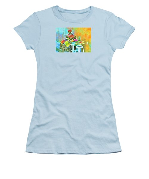 Women's T-Shirt (Junior Cut) featuring the painting Caribbean Scenes - De Fruit Lady by Wayne Pascall