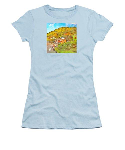 Women's T-Shirt (Junior Cut) featuring the painting Caribbean Scenes - De Village by Wayne Pascall
