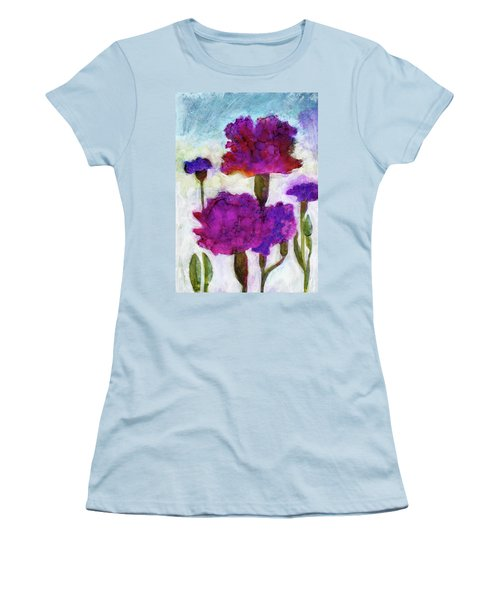 Women's T-Shirt (Junior Cut) featuring the painting Carnations by Julie Maas