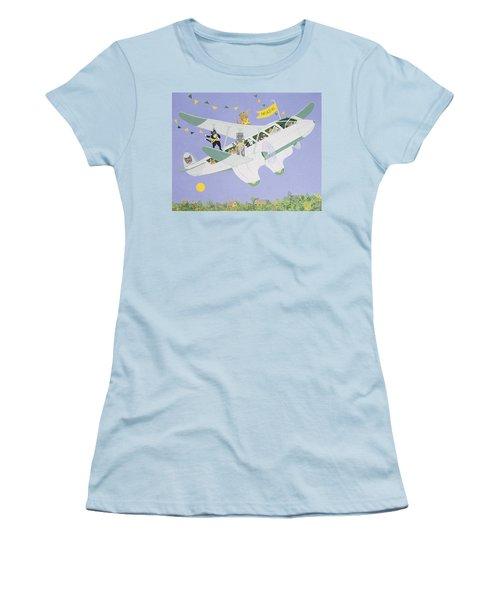 Cat Air Show Women's T-Shirt (Junior Cut) by Pat Scott