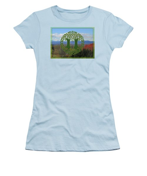 Celtic Wedding Tree In Green Women's T-Shirt (Athletic Fit)