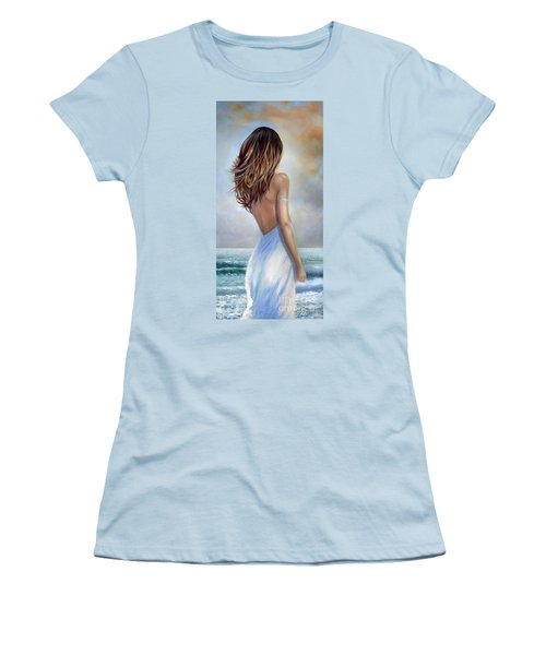 Women's T-Shirt (Junior Cut) featuring the painting A Walk On The Beach by Michael Rock