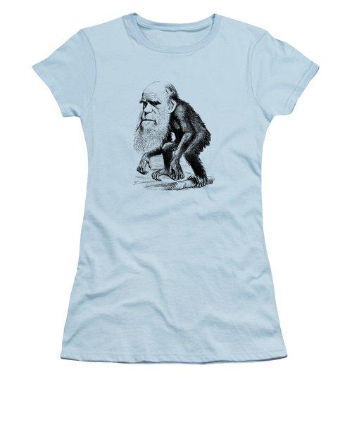 Charles Darwin As An Ape Cartoon Women's T-Shirt (Junior Cut) by War Is Hell Store