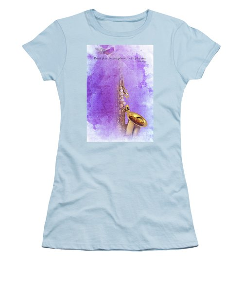 Charlie Parker Saxophone Purple Vintage Poster And Quote, Gift For Musicians Women's T-Shirt (Athletic Fit)