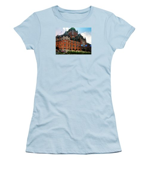 Women's T-Shirt (Junior Cut) featuring the photograph Chateau Frontenac by Robin Regan