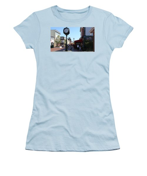 Women's T-Shirt (Junior Cut) featuring the painting Checking Out The Shops In Cape May by Rod Jellison