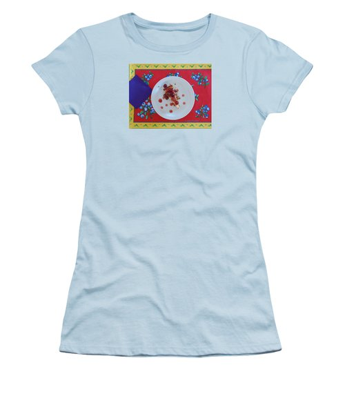 Cheese Cake With Cherries Women's T-Shirt (Junior Cut) by Jana Russon