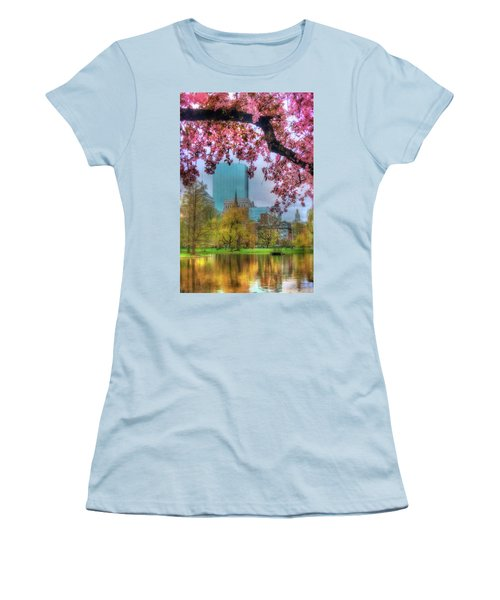Women's T-Shirt (Junior Cut) featuring the photograph Cherry Blossoms Over Boston by Joann Vitali