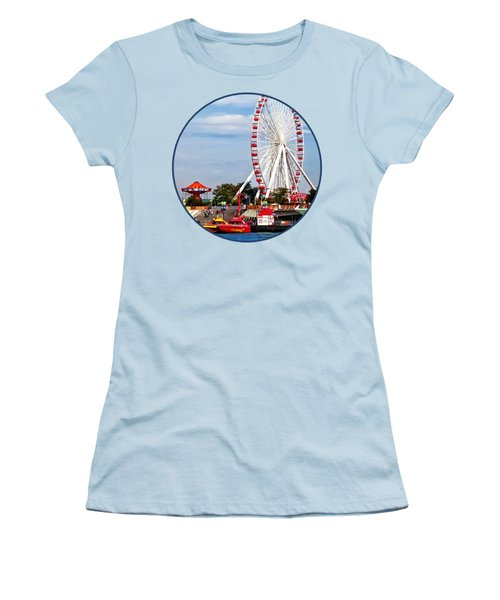 Chicago Il - Ferris Wheel At Navy Pier Women's T-Shirt (Athletic Fit)