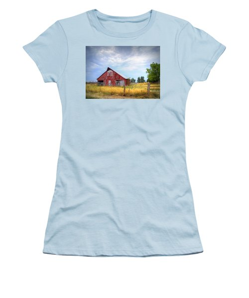 Christian School Road Barn Women's T-Shirt (Junior Cut) by Cricket Hackmann